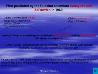 First predicted by the Russian scientists Sunayaev and Zel'dovich in 1969.