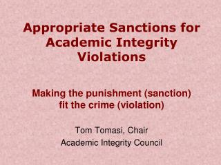Appropriate Sanctions for Academic Integrity Violations