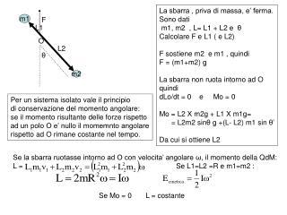 La sbarra , priva di massa, e' ferma. Sono dati  m1, m2  , L= L1 + L2 e   θ