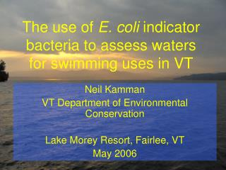 The use of  E. coli  indicator bacteria to assess waters for swimming uses in VT