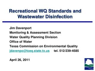 Recreational WQ Standards and Wastewater Disinfection