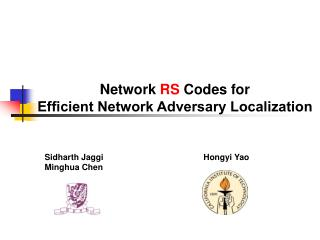 Network  RS  Codes for                 Efficient Network Adversary Localization