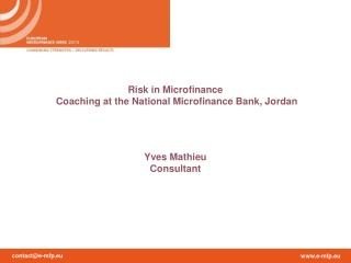 Risk in Microfinance  Coaching at the National Microfinance Bank, Jordan