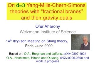 "On  d=3  Yang-Mills-Chern-Simons theories with ""fractional branes"" and their gravity duals"