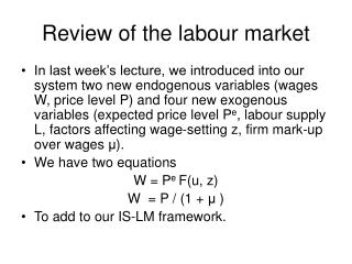 Review of the labour market