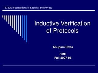 Inductive Verification of Protocols