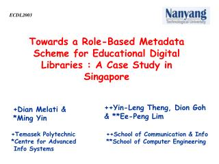 Towards a Role-Based Metadata Scheme for Educational Digital Libraries : A Case Study in Singapore
