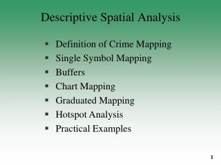 Descriptive Spatial Analysis