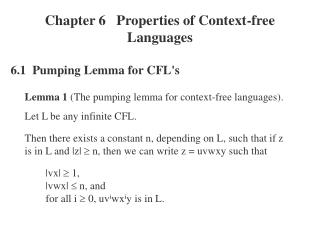 Chapter 6   Properties of Context-free Languages
