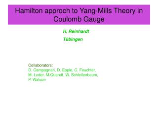 Hamilton approch to Yang-Mills Theory in Coulomb Gauge