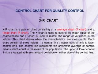 CONTROL CHART FOR QUALITY CONTROL