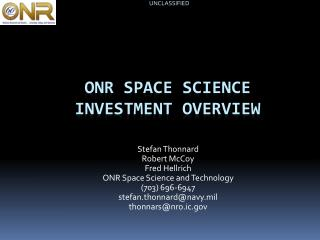 ONR space science investment overview