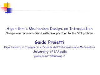 Algorithmic Mechanism Design: an Introduction