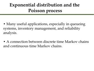 Exponential distribution and the  Poisson process
