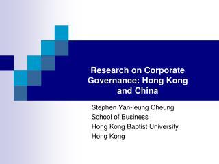 Stephen Yan-leung Cheung School of Business Hong Kong Baptist University  Hong Kong