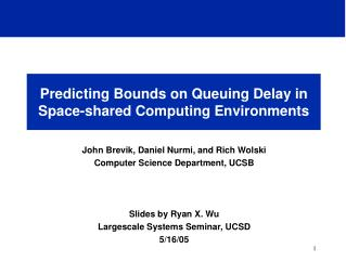 Predicting Bounds on Queuing Delay in Space-shared Computing Environments