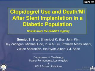 Clopidogrel Use and Death/MI After Stent Implantation in a Diabetic Population