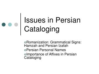 Issues in Persian Cataloging