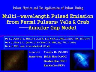 Multi-wavelength Pulsed Emission from Fermi Pulsars: Vela & Crab  ——Annular Gap Model