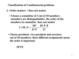 Classification of Combinatorial problems