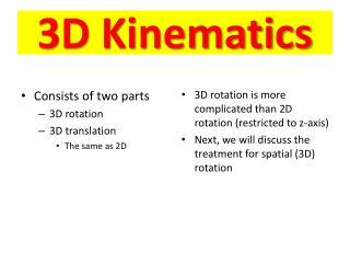 3D Kinematics
