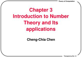 Chapter 3 Introduction to Number Theory and Its applications