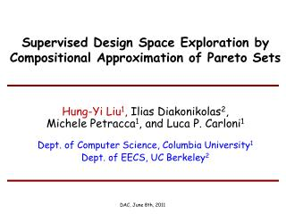 Supervised Design Space Exploration by Compositional Approximation of Pareto Sets