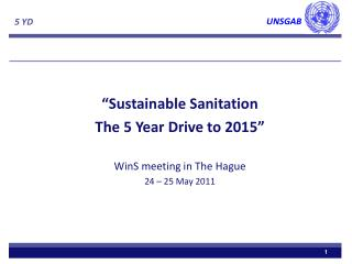 """Sustainable Sanitation The 5 Year Drive to 2015"" WinS  meeting in The Hague 24 – 25 May 2011"