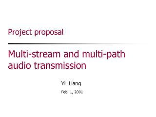 Project proposal Multi-stream and multi-path audio transmission