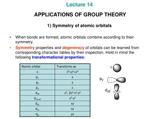 Lecture 14  APPLICATIONS OF GROUP THEORY 1) Symmetry of atomic orbitals