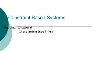 Constraint Based Systems