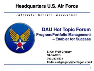DAU Hot Topic Forum Program/Portfolio Management – Enabler for Success