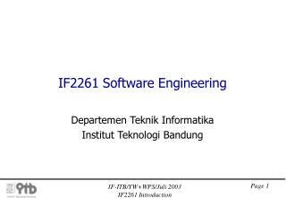 IF2261 Software Engineering