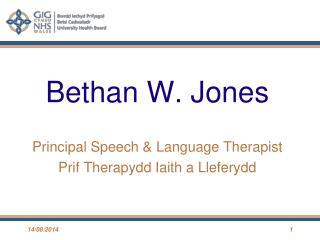 Bethan W. Jones Principal Speech & Language Therapist Prif Therapydd Iaith a Lleferydd