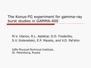 The Konus-FG experiment for gamma-ray burst studies in GAMMA-400