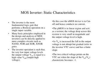 MOS Inverter: Static Characteristics