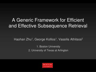 A Generic Framework for Efficient and Effective Subsequence Retrieval
