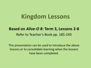 Kingdom Lessons