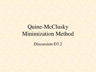 Quine-McClusky Minimization Method