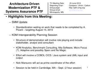 Architecture-Driven Modernization PTF & Systems Assurance PTF