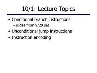 10/1: Lecture Topics