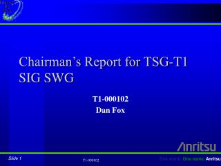 Chairman's Report for TSG-T1 SIG SWG