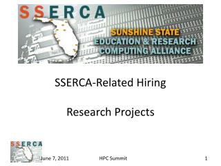 SSERCA-Related Hiring Research Projects
