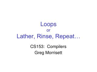 Loops or Lather, Rinse, Repeat…