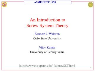 An Introduction to  Screw System Theory