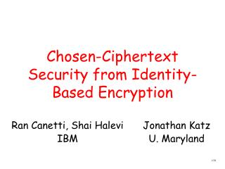 Chosen-Ciphertext Security from Identity-Based Encryption