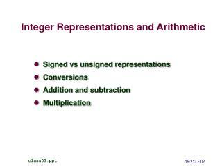 Integer Representations and Arithmetic