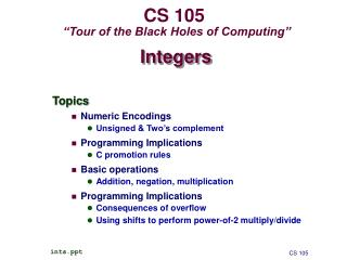 "CS 105  ""Tour of the Black Holes of Computing"""