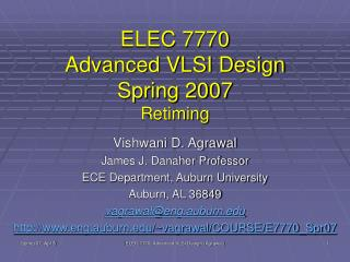 ELEC 7770 Advanced VLSI Design Spring 2007 Retiming
