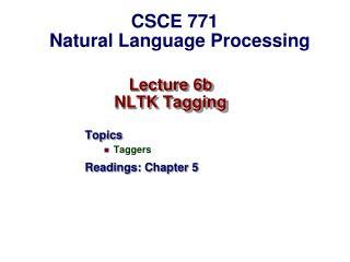 Lecture 6b  NLTK Tagging